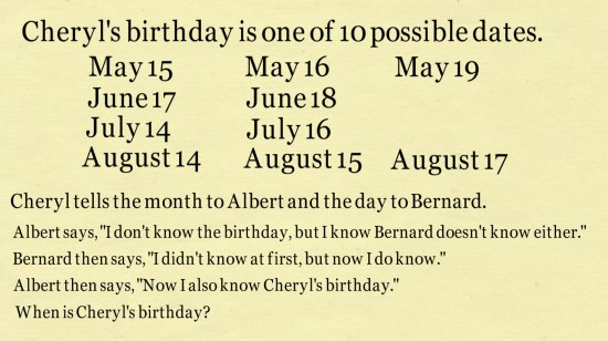 When Is Cheryls Birthday? Answer To Viral Math Puzzle | Mind Your.